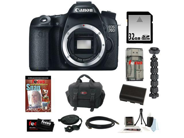 Canon 70d EOS 70D 20.2 MP Digital SLR Camera w/ Dual Pixel CMOS AF (Body Only) + 32GB Memory Card + Replacement Battery + Card ...