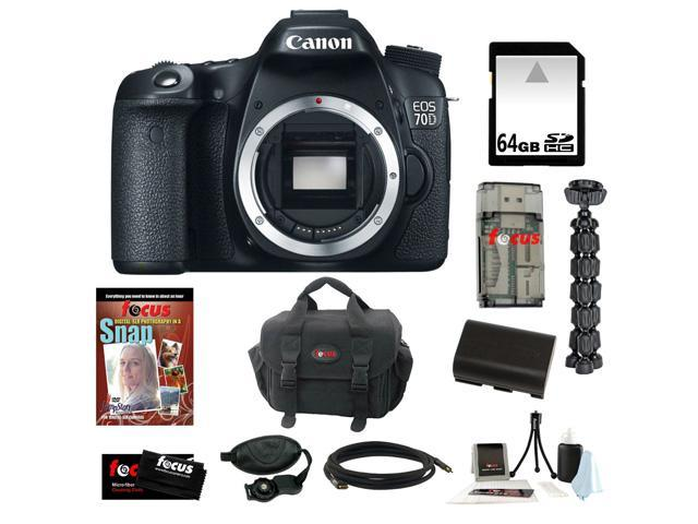 Canon 70d EOS 70D 20.2 MP Digital SLR Camera w/ Dual Pixel CMOS AF (Body Only) + 64GB Memory Card + Replacement Battery + Card ...