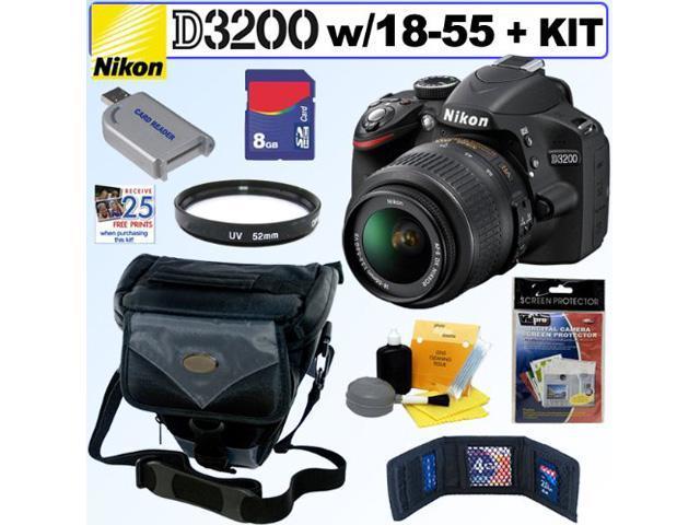NIKON D3200 24.2 MP CMOS Digital SLR Camera (Black) with 18-55mm f/3.5-5.6 AF-S DX VR NIKKOR Zoom Lens + 8GB Accessory Kit