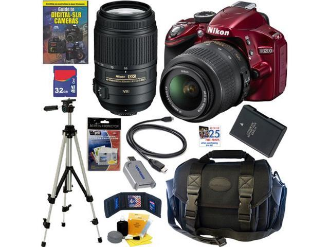 NIKON D3200 24.2 MP CMOS Digital SLR Camera (Red) with 18-55mm f/3.5-5.6G AF-S DX VR and 55-300mm f/4.5-5.6G ED VR AF-S DX NIKKOR Zoom Lenses ...