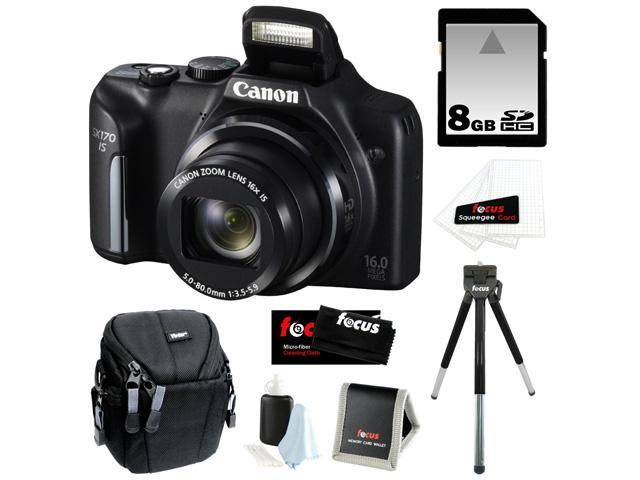 CANON PowerShot SX170 IS 16MP Digital Camera with 16x Optical Zoom and 3-inch LCD in Black + 8GB SDHC + Compact Camera Case + Mini ...