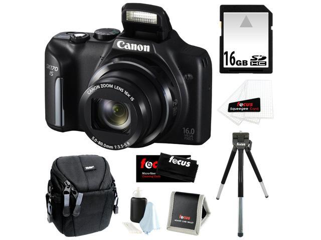 CANON PowerShot SX170 IS 16MP Digital Camera with 16x Optical Zoom and 3-inch LCD in Black + 16GB SDHC + Compact Camera Case + Mini ...