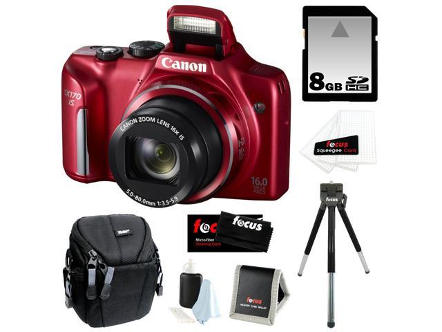 CANON PowerShot SX170 IS 16MP Digital Camera with 16x Optical Zoom and 3-inch LCD in Red + 8GB SDHC + Compact Camera Case + Mini ...
