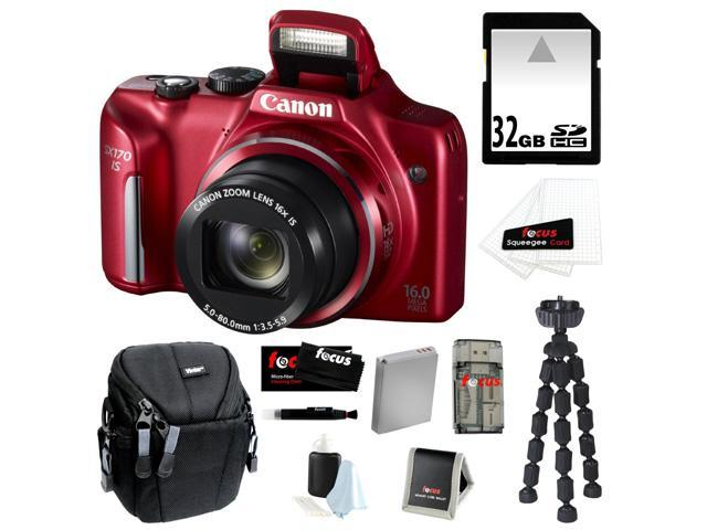 CANON PowerShot SX170 IS 16MP Digital Camera with 16x Optical Zoom and 3-inch LCD in Red + 32GB SDHC + Replacement NB-6L Battery + Focus ...