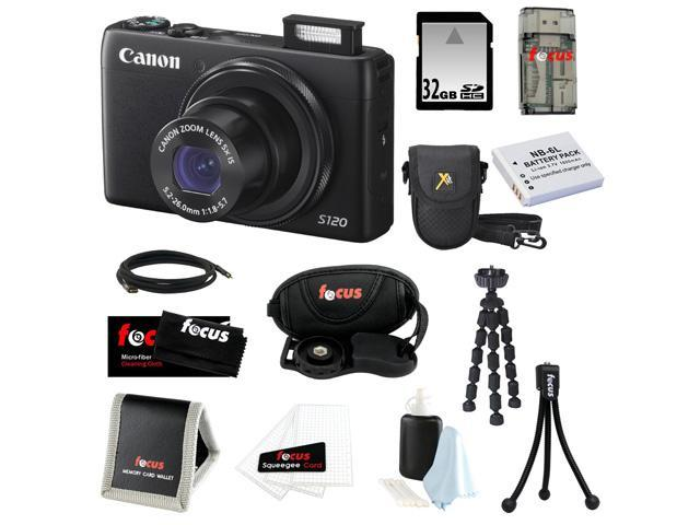 Canon PowerShot S120 12.1 MP CMOS Digital Camera Bundle with 32GB SD Memory Card + Replacement Battery for NB-6L + Deluxe Point & Shoot Camera ...