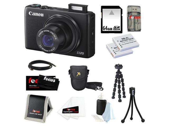 Canon PowerShot S120 12.1 MP CMOS Digital Camera Bundle with 64GB SD Memory Card + Two Replacement Batteries for NB-6L + Deluxe Point & Shoot ...