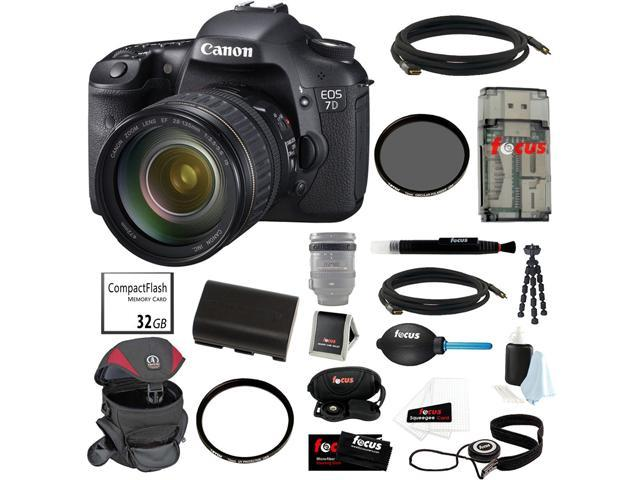 Canon EOS 7D 18 MP CMOS Digital SLR Camera with 28-135mm f/3.5-5.6 IS USM Standard Zoom Lens + 32GB Memory Card + Kit