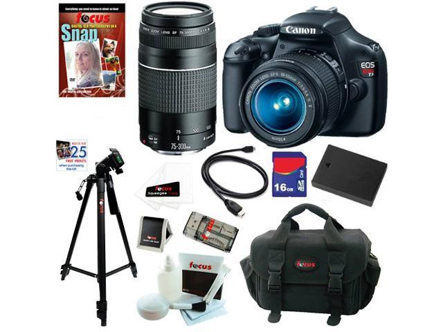 Canon t3 Canon EOS Rebel T3 12.2 MP CMOS Digital SLR Camera with EF-S 18-55mm f/3.5-5.6 IS II Zoom Lens & EF 75-300mm f/4-5.6 III ...