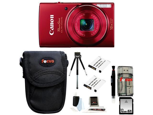 Canon PowerShot ELPH 150 IS Digital Camera + 32GB Memory Card + All in One High Speed Card Reader + Standard Medium Digital Camera Case ...