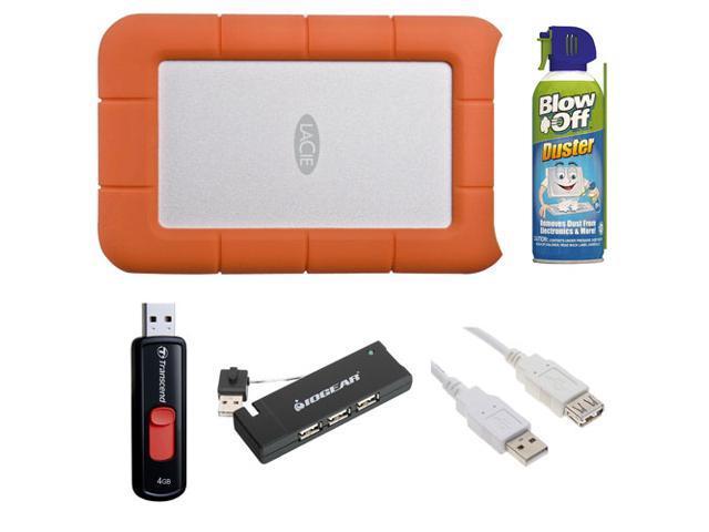LaCie Rugged USB 3.0 7200rpm 500 GB Mini Disk Portable Hard Drive 301556 + 4GB Flash Drive + 4-Port USB 2.0 Hub + Canned Air ...
