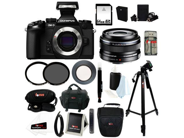 Olympus em1 Olympus OM-D E-M1 16 MP Compact System Camera (Body Only) w/ M.Zuiko 17mm f1.8 Lens (Black) + Replacement BLN-1 Battery and Charger + ...