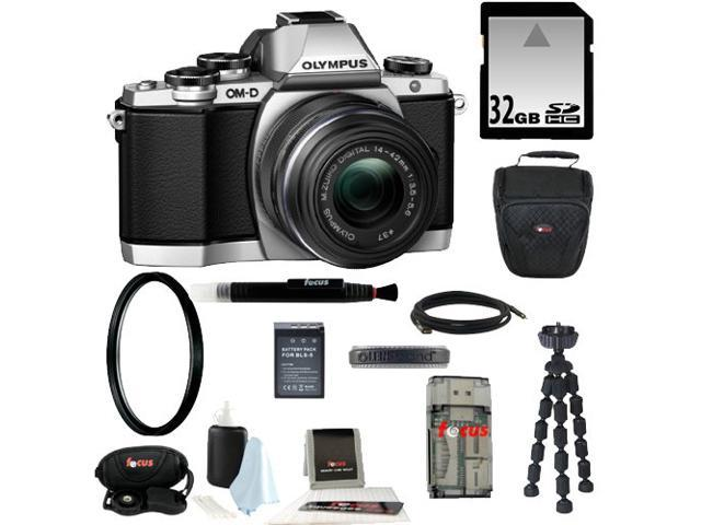 Olympus OM-D E-M10 Mirrorless Micro Four Thirds Digital Camera with 14-42mm Lens (Silver) + 32GB SD HC Memory Card + Best DSLR Kit