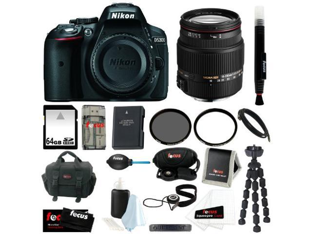 Nikon D5300 24.2 MP CMOS Digital SLR Camera with Built-in Wi-Fi and GPS Body Only (Black) + Sigma 18-200mm F3.5-6.3 Lens for Nikon + 64GB ...