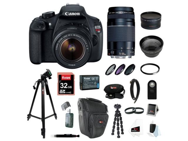 Canon EOS Rebel T5 DSLR Camera with EF-S 18-55mm IS II & 75-300mm Zoom Lens + 32GB Memory Card + Extra Battery Pack + Deluxe ...