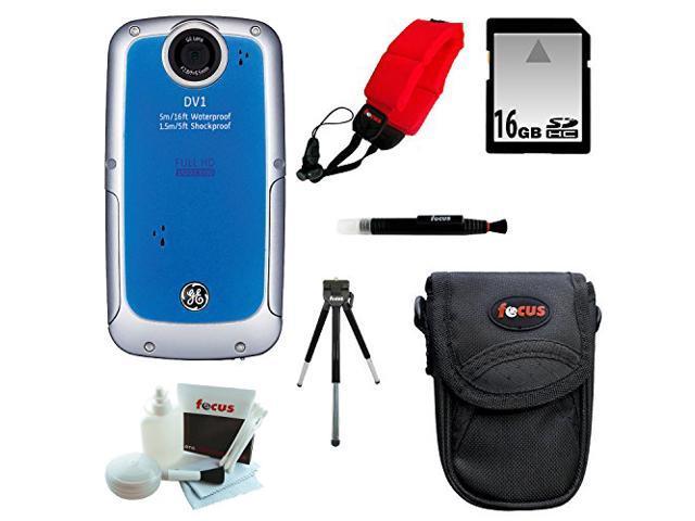 General Electric DV1 Waterproof/ Shockproof HD Digital Video Camera (Aqua Blue) with 16GB Deluxe Accessory Kit