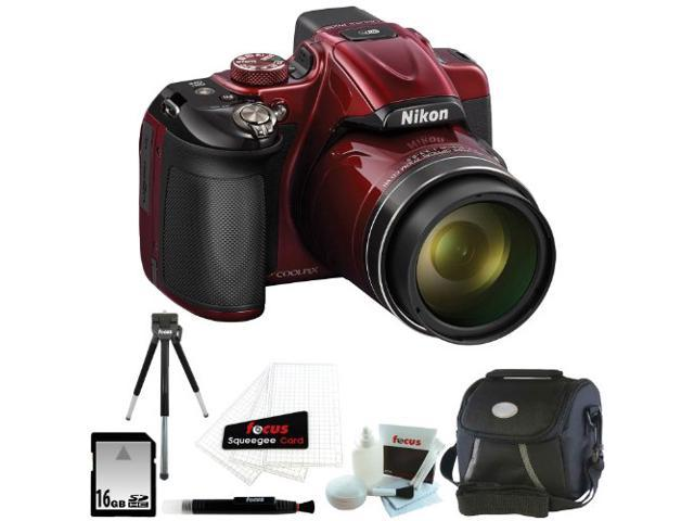 Nikon COOLPIX P600 Digital Camera (Red) with 16GB Deluxe Accessory Kit