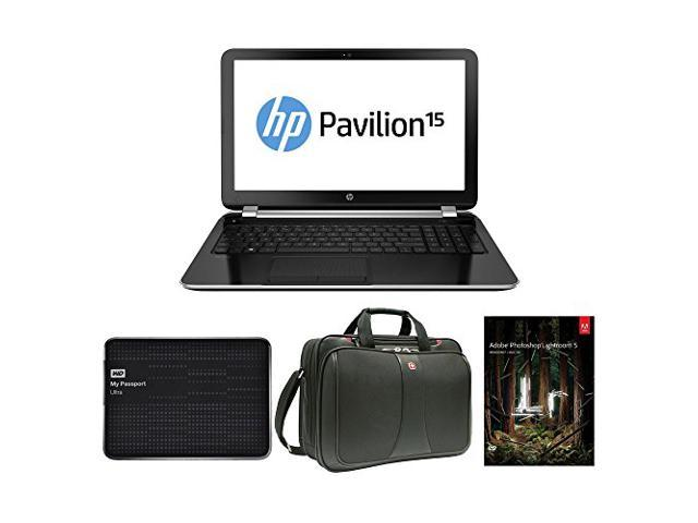 HP Pavilion 15-n206nr AMD Quad-Core A6, 8GB, 750GB HD, DVD burner 15.6 HD LED Win 8.1 (Certified Refurbished) with Computer Case, 2TB External ...