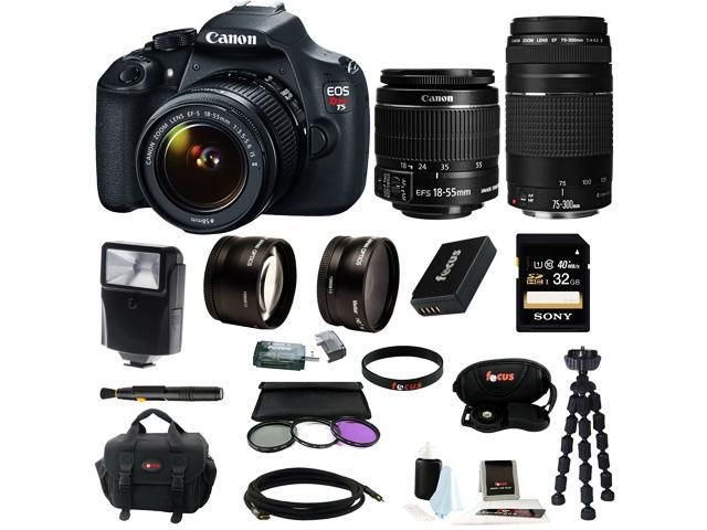 Canon T5 EOS Rebel T5 DSLR Camera with EF-S 18-55mm IS II & 75-300mm Zoom Lens + 32GB Memory Card + Extra Battery Pack + ...