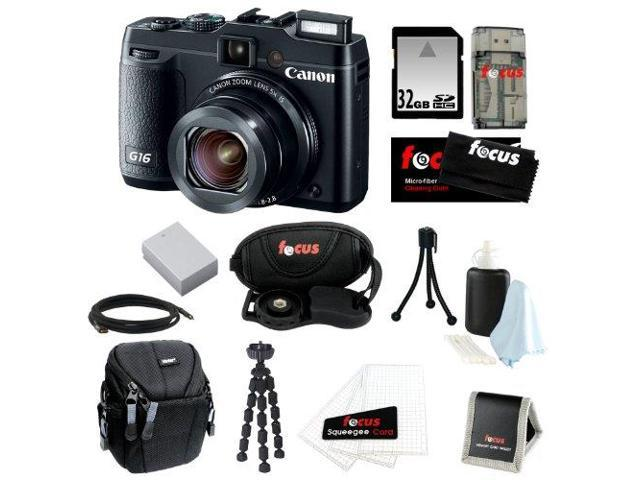 Canon G16 PowerShot G16 12.1 MP CMOS Digital Camera Bundle with 32GB SD Memory Card + Card Reader + Small Case + Replacement Battery for ...