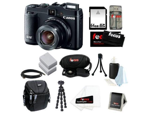Canon G16 PowerShot G16 12.1 MP CMOS Digital Camera Bundle with 64GB SD Memory Card + Card Reader + Small Case + Two Replacement Battery ...