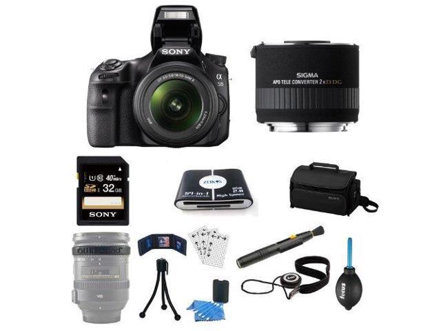 Sony a58 SLT-A58K SLTA58K DSLR Camera and 18-55mm Lens Bundle with Sigma APO 2x Teleconverter EX DG for Sony HSM Mount Lenses + Sony 32GB ...