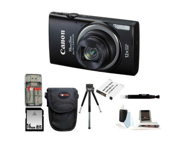Canon PowerShot ELPH 340 HS (Black) with 16GB Deluxe Accessory Kit