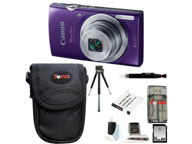 Canon PowerShot ELPH 135 (Purple) with 16GB Deluxe Accessory Kit