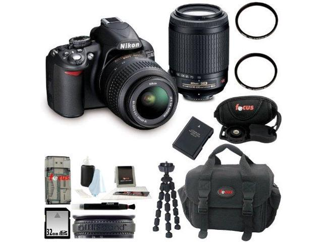 Nikon D3100 Digital SLR Camera Kit with 18-55mm & 55-200mm VR Lenses and 32GB Deluxe Accessory Kit