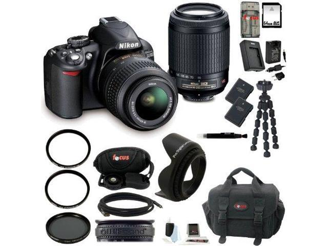 Nikon D3100 dx-format Digital SLR Outfit w/ 18-55 VR & 55-200mm Dx VR Zoom Lenses and 64GB Deluxe Accessory Kit