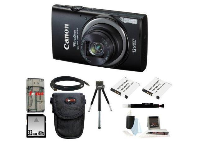 Canon PowerShot ELPH 340 HS (Black) with 32GB Deluxe Accessory Kit