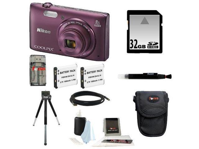 Nikon COOLPIX S5300 16MP CMOS Digital Camera w/ Wi-Fi (Plum) + 32GB Accessory Kit