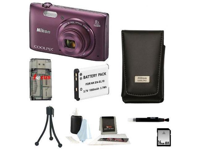 Nikon COOLPIX S5300 16MP CMOS Digital Camera w/ Wi-Fi (Plum) + 16GB Accessory Kit