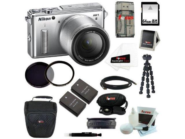 Nikon 1 AW1 14.2 MP Digital Camera with AW 11-27.5mm f/3.5-5.6 1 NIKKOR Lens (Silver) with 64GB Memory Card and All in One High Speed ...