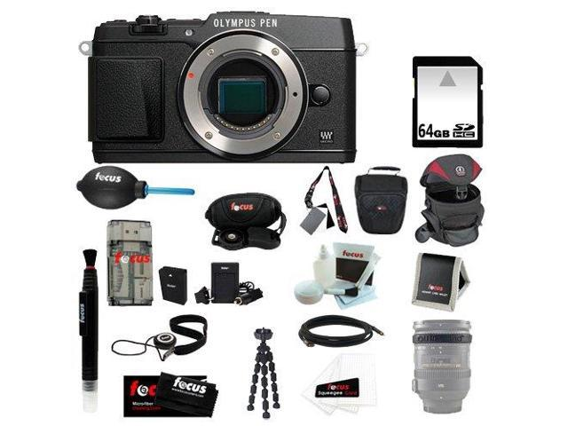 Olympus E-P5 Black Body + 64GB SD HC Memory Card + HDMI Standard to Micro Cable + Professional Wrist Grip Strap + Lens Band Stop ...