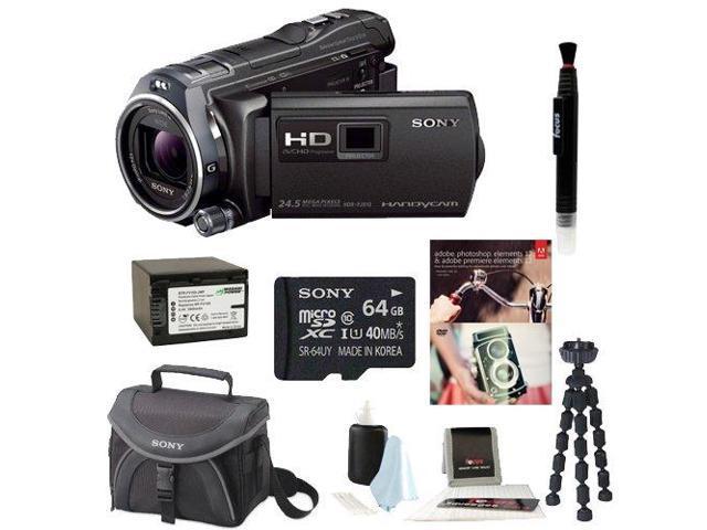 Sony HDR-PJ810/B HDRPJ810 PJ810 Full HD 60p/24p Camcorder w/ advanced Manual Controls (Black) + Sony 64GB Micro SD Card + Wasabi Power Battery + ...