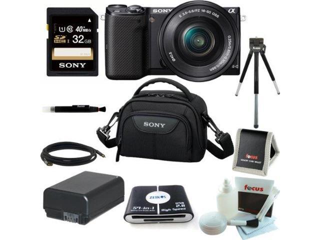 Sony NEX-5TL 16 MP Compact Interchangeable Lens Digital Camera Kit with 16-50mm Power Zoom Lens with NFC and Wifi sharing (Black) + Sony LCSVA15 ...