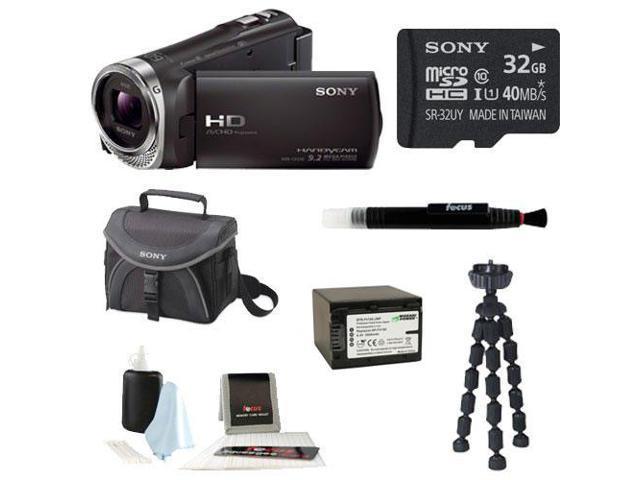 Sony HDR-CX330 Full HD Handycam Camcorder (Black) + Sony 32GB Memory Card + Focus Soft Photo and Video Medium Case + Focus 5 Piece Digital ...