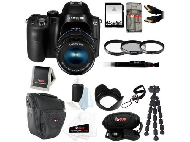 Samsung NX30 Mirrorless Digital Camera with 18-55mm f/3.5-5.6 OIS Lens + 64GB SD HC Memory Card + 58mm Photo Essentials Kit + Focus Deluxe SLR ...