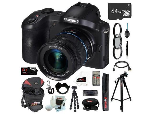 Samsung NX-GN120 Galaxy NX Camera 20.3MP Android 3G/4G Wi-FI Digital Camera with 18-55mm OIS Lens + 64GB Micro SDXC + Tiffen Essentials Filter ...