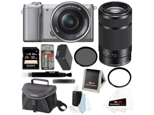 Sony Alpha A5000 Mirrorless Digital Camera (Silver) + Sony SEL55210/B 55-210mm f/4.5-6.3 Telephoto Lens + Sony 32GB SD Class 10 UHS-1 Memory Card ...