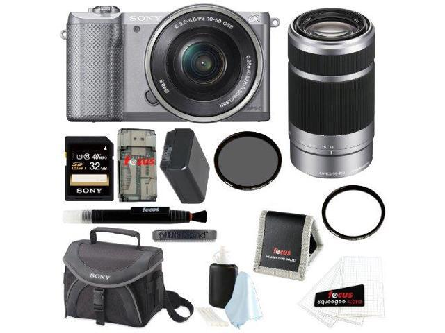Sony Alpha A5000 Mirrorless Digital Camera (Silver) + Sony SEL55210 55-210mm f/4.5-6.3 Telephoto Lens + Sony 32GB SDHC Class 10 UHS-1 Memory Card ...