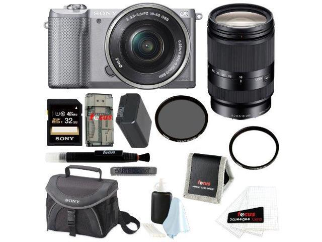 Sony Alpha A5000 Mirrorless Digital Camera (Silver) + Sony 18-200mm f/3.5-6.3 Zoom Lens + Sony 32GB SD Class 10 UHS-1 Memory Card + Sony Case ...