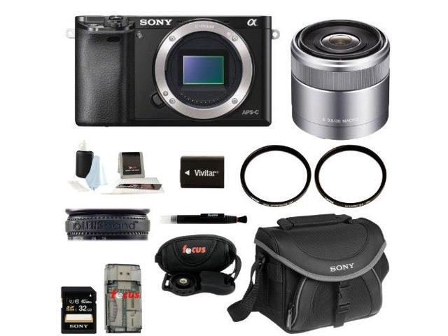 Sony Alpha A6000 Mirrorless Digital Camera (Body) with 18-55mm Lens and 32GB Deluxe Accessory Kit