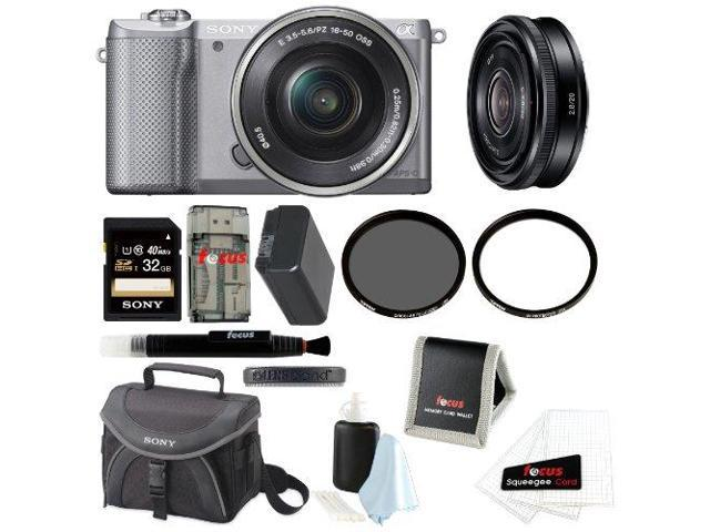 Sony Alpha A5000 ILCE-5000L/S Mirrorless Digital Camera (Silver) + Sony SEL20F28 20mm f/2.8 Wide-Angle Prime Lens + Sony 32GB SDHC/SDXC Class 10 ...