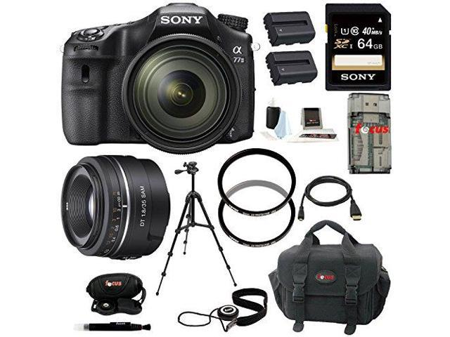 Sony a77 - A77II Digital SLR Camera with 16-50mm and 35mm Lenses plus 64GB Deluxe Accessory Kit