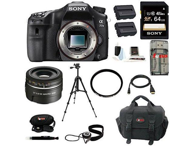 Sony a77 - A77II Digital SLR Camera (Body Only) with Sony SAL30M28 30mm f/2.8 Lens for Alpha Digital SLR Cameras and 64GB Deluxe Accessory Kit ...