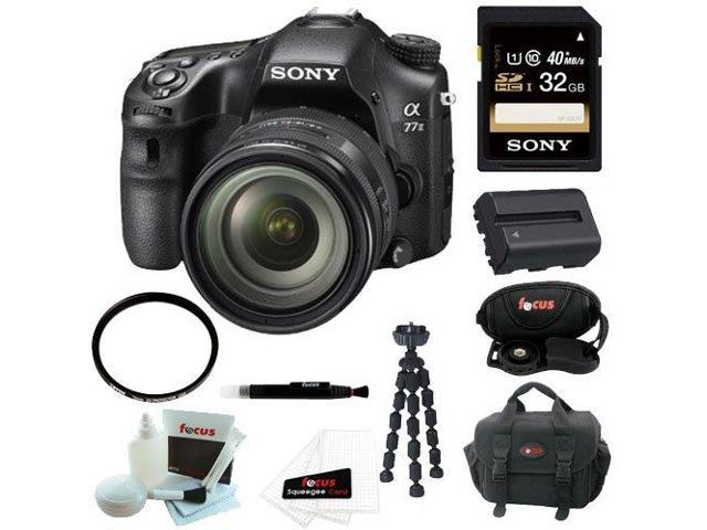 Sony a77 - A77II Digital SLR Camera with 16-50mm F2.8 Lens + Sony 32GB SDHC/SDXC Memory Card + Replacement Battery for Sony + Deluxe Accessory ...