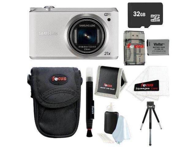 Samsung WB350F 16.3MP SMART Digital Camera w/ 23-483mm Lens in White + 32GB Deluxe Accessory Kit