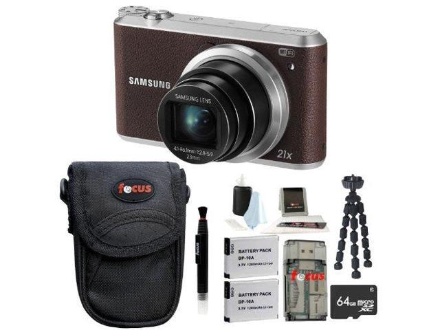 Samsung WB350F Smart Digital Camera (Brown) with 64GB Best Camera Accessory Kit