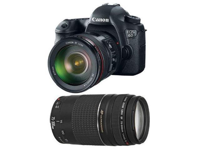 Canon 6d EOS 6D Digital Camera, 24-105mm f/4.0L IS USM AF Lens Kit + Canon 70-300mm f/4.0-5.6 EF IS Image Stabilized USM Autofocus Zoom Lens ...